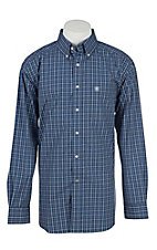 Ariat Pro Men's Blue, Black, and Grey Plaid Long Sleeve Western Shirt