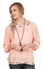 Ariat Women's Peach with Arrows Embroidery and Long Cinched Sleeves Fashion Top