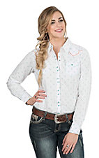 Ariat Women's White with Aztec Embroidered Print Long Sleeve Western Snap Shirt
