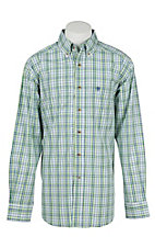 Ariat Pro Men's Green, Blue, and White Plaid Long Sleeve Western Snap Shirt