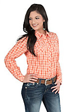 Ariat Women's Orange Plaid Long Sleeve Western Snap Shirt