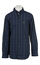 Ariat Pro Men's Navy and Green Plaid Long Sleeve Western Shirt