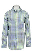 Ariat Pro Men's Green, Blue, and White Plaid Long Sleeve Western Shirt