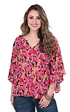 Ariat Women's Pink, Red, and Navy Floral Print with 3/4 Bell Sleeves Fashion Top