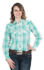 Ariat Women's Turquoise Plaid Long Sleeve Western Snap Shirt