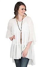 Ariat Women's White Ruffled with 3/4 Bell Sleeves Tunic Fashion Top