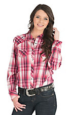 Ariat Women's Pink Plaid with Embroidery Long Sleeve Striped Shirt