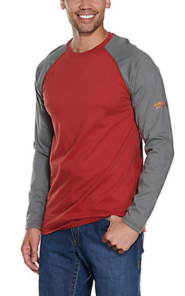 Ariat Men's Red HRC2 Baseball Long Sleeve FR Work Shirt - Big & Tall