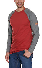 Ariat Work FR Men's Red HRC2 Crew Neck Grey Long Sleeve Flame Resistant Shirt