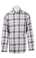 Ariat Work FR Men's White, Red, and Blue Flame Resistane Long Sleeve Work Shirt