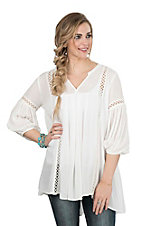 Ariat Women's Ivory with Crochet Details and 3/4 Cinched Sleeves Fashion Tunic Top