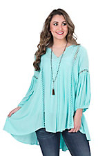 Ariat Women's Turquoise with Crochet Details and 3/4 Cinched Sleeves Fashion Tunic Top