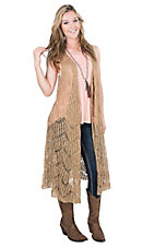 Ariat Women's Sand Crochet Sleeveless Long Vest