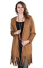 Ariat Women's Cognac Faux Suede and Fringe Long Sleeve Cardigan