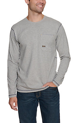 Ariat Men's Heather Grey Rebar Crew Long Sleeve Work Shirt