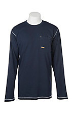 Ariat Men's Navy Rebar Crew L/S Work Shirt