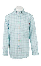 Ariat Men's Work Flame Resistant Light Blue Plaid Work Shirt