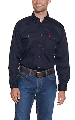 Ariat Men's Solid Navy Vent Long Sleeve FR Work Shirt