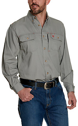 Ariat Men's Silver Fox Solid Vent Long Sleeve FR Work Shirt
