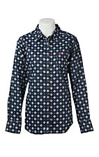 Ariat Work FR Women's Navy and White Diamond Print Flame Resistant Long Sleeve Work Shrit