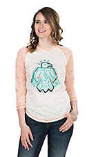 Ariat Women's White with Free Bird Screen Print and Peach 3/4 Sleeves Casual Knit Top