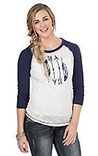 Ariat Women's White with Arrow Screen Print and Navy 3/4 Sleeves Casual Knit Top