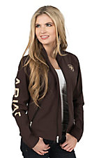 Ariat Women's Brown with Cream Logos Long Sleeve Soft Shell Jacket