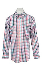 Ariat Men's Navy, Coral, and White Plaid Long Sleeve Western Shirt