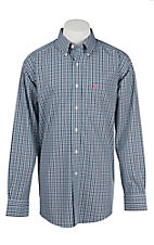 Ariat Men's Navy, White, and Coral Plaid Long Sleeve Western Shirt