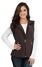 Ariat Women's Brown with Cream Logos Sleeveless Soft Shell Vest