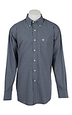 Ariat Men's Navy and White Plaid Long Sleeve Western Shirt