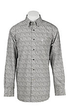 Ariat Men's Grey and White Floral Print Long Sleeve Western Shirt