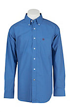 Ariat Men's Blue, Red, and White Dot Pattern Long Sleeve Western Shirt