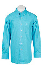 Ariat Men's Light Blue Floral Pattern Long Sleeve Western Shirt