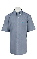 Ariat Men's Bernie Navy and Light Blue Print Western Shirt