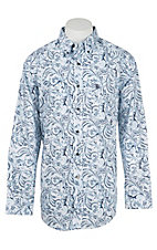 Ariat Men's Navy and White Floral Print Long Sleeve Western Shirt - Big & Tall
