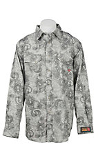 Ariat Work FR Men's Grey and White Paisley Print Long Sleeve Flame Resistant Work Shirt
