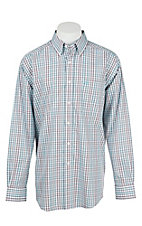 Ariat Men's Black, White, Light Blue, and Coral Plaid Long Sleeve Western Shirt