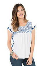 Ariat Women's Cream with Navy Floral Embroidered Yokes Cap Sleeve Fashion Top