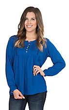 Ariat Women's Blue Dobby with Defined Yoke Long Sleeve Peasant Fashion Top