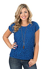 Ariat Women's Cobalt Blue Lace Overlay Fashion Top