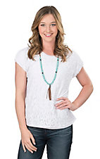 Ariat Women's White Lace Overlay Fashion Top