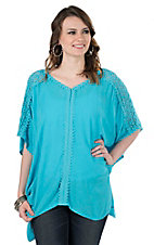 Ariat Women's Turquoise with Crochet Details and 1/2 Sleeves Poncho Style Fashion Top