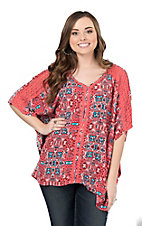Ariat Women's Pink and Blue Aztec Print with Crochet Details 1/2 Sleeve Fashion Shirt