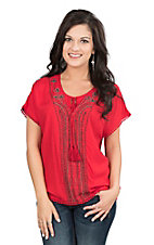Ariat Women's Red with Beading and Embroidery Short Sleeve Fashion Top