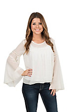 Ariat Women's Cream with Crochet Yoke Styling and Long Bell Sleeves Fashion Top