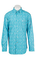 Ariat Men's Turquoise Paisley Print Long Sleeve Western Shirt - Big & Tall