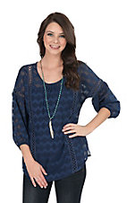 Ariat Women's Navy Zig Zag with Crochet Details 3/4 Cinched Sleeve Fashion Top