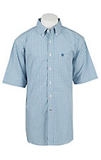 Ariat Men's Blue and White Check Short Sleeve Western Shirt