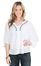 Ariat Women's White with Blue Embroidery and Butterfly Sleeves Tunic Top